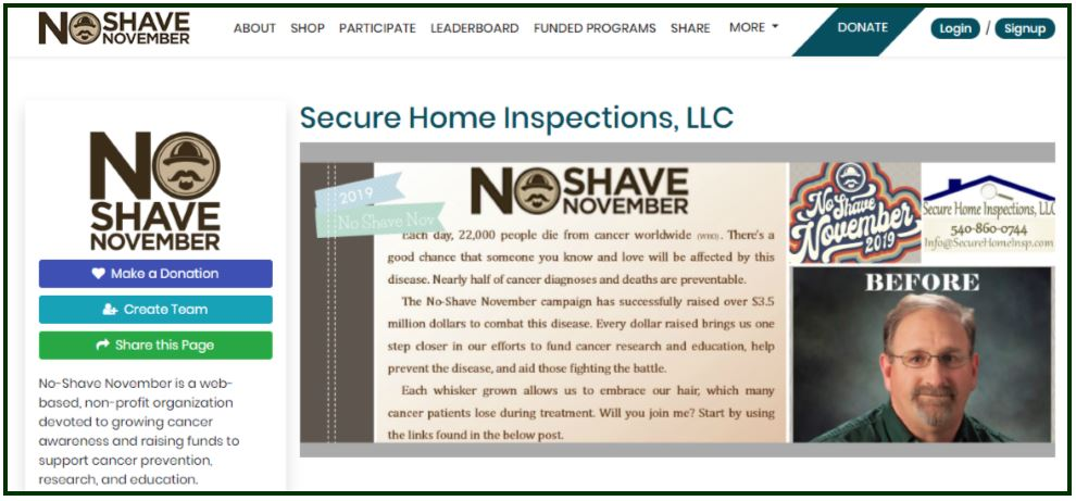 No Shave November - Secure Home Inspections